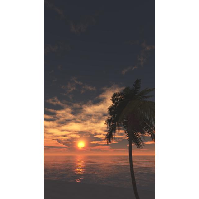 海と太陽とヤシの木│夕焼け 夕陽 FHD 縦画像│CG画像データ フリー ダウンロード 無料 商用可能 2d background image Free download digital-architex.com
