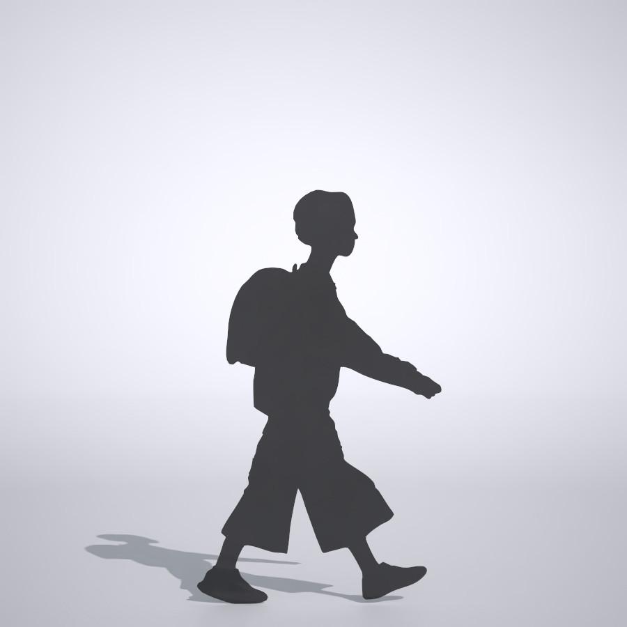 ランドセルを背負った女の子の3dCADデータ│3d cad データ フリー ダウンロード Free download 無料 商用可能 建築パース フリー素材 フォームズィー formZ 3D 3ds obj│ポリ板 シルエット 人物 人間 子供 Silhouette people human children Free download│digital-architex.com
