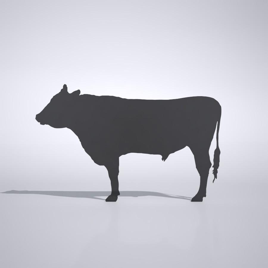牛の3dCADデータ│3d cad データ フリー ダウンロード 無料 商用可能 建築パース フリー素材 フォームズィー formZ 3D 3ds obj│ポリ板 シルエット 動物 ウシ 黒毛和牛 動物 うし cow Silhouette Free download│digital-architex.com