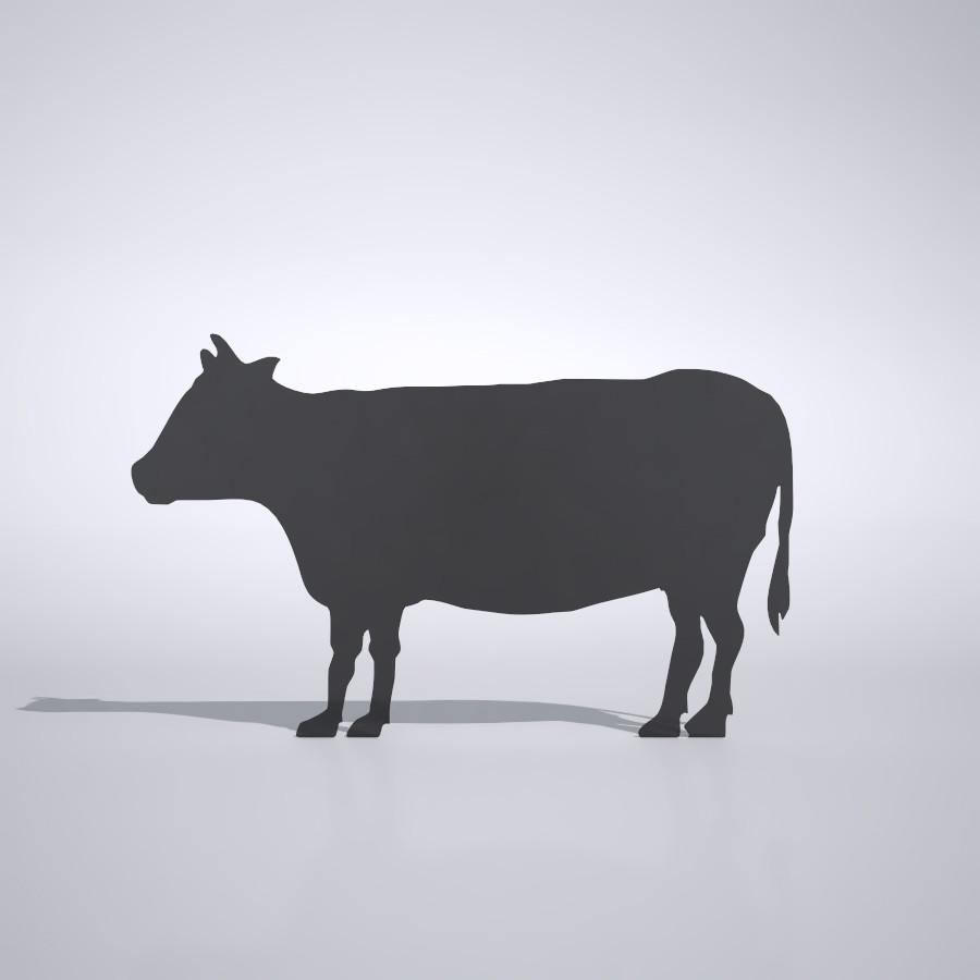 牛の3dCADデータ│3d cad データ フリー ダウンロード 無料 商用可能 建築パース フリー素材 フォームズィー formZ 3D 3ds obj│ポリ板 シルエット 動物 ウシ 和牛 動物 うし cow Silhouette Free download│digital-architex.com