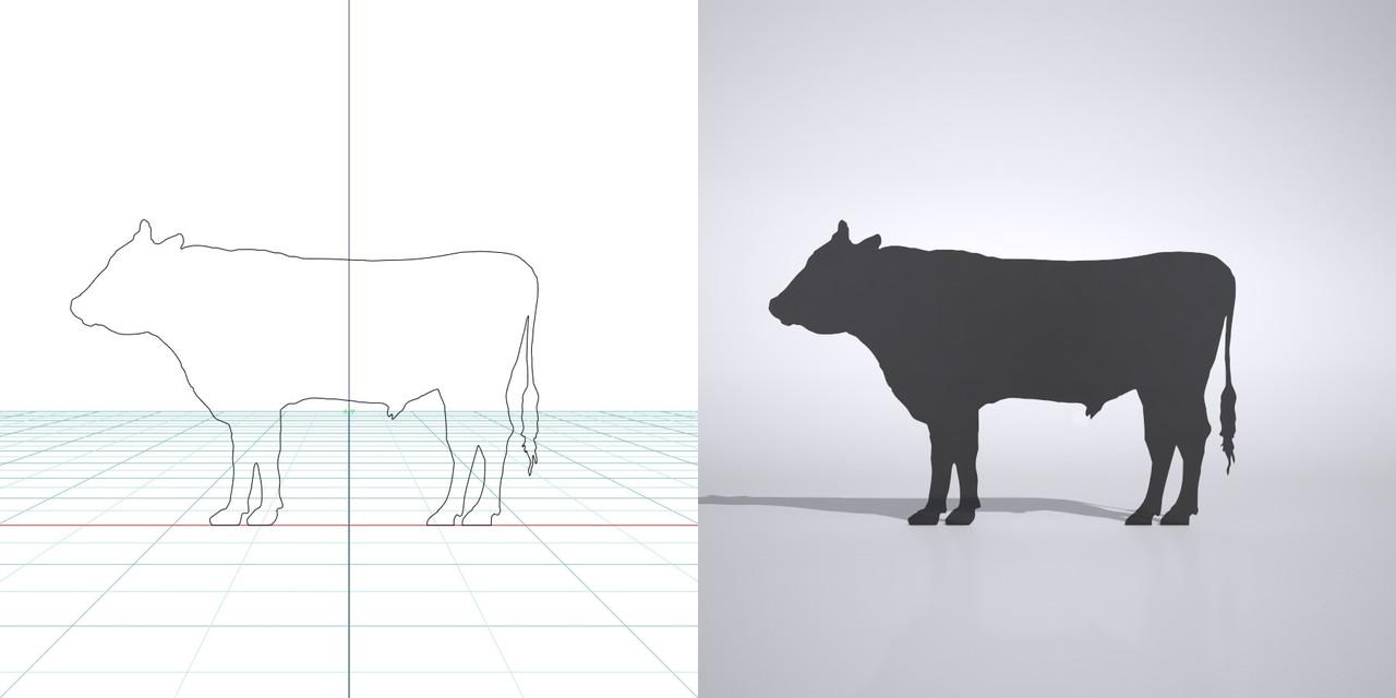 牛の3dCADデータ│3d cad データ フリー  ダウンロード 無料 商用可能 建築パース フリー素材 フォームズィー formZ 3D 3ds obj│ポリ板 シルエット 動物 ウシ 黒毛和牛 cow Silhouette Free download│digital-architex.com