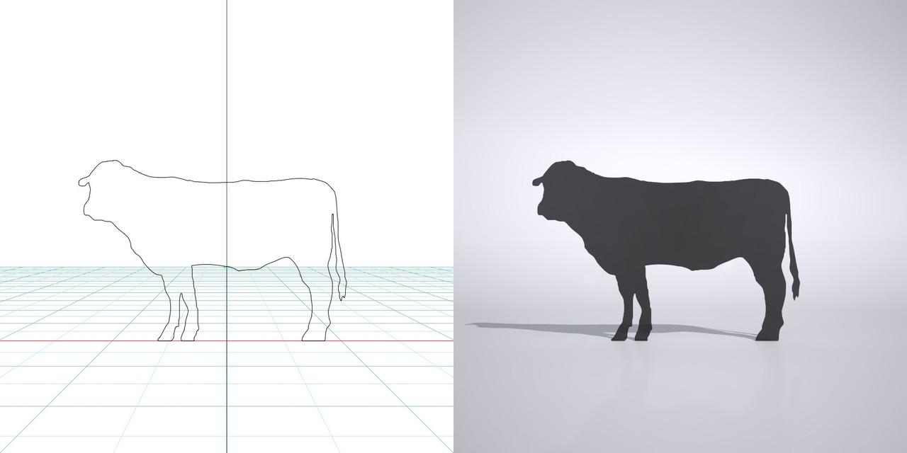 牛の3dCADデータ│3d cad データ フリー  ダウンロード 無料 商用可能 建築パース フリー素材 フォームズィー formZ 3D 3ds obj│ポリ板 シルエット 動物 ウシ 和牛 cow Silhouette Free download│digital-architex.com
