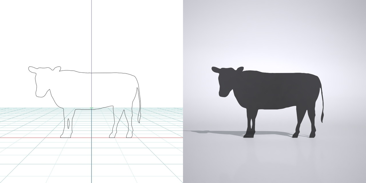 牛の3dCADデータ│3d cad データ フリー  ダウンロード 無料 商用可能 建築パース フリー素材 フォームズィー formZ 3D 3ds obj│ポリ板 シルエット 動物 ウシ ホルスタイン cow Silhouette Free download│digital-architex.com