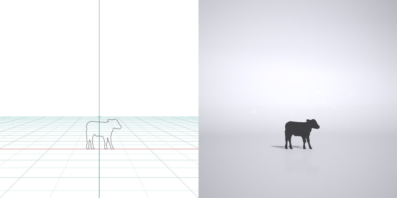 牛の3dCADデータ│3d cad データ フリー  ダウンロード 無料 商用可能 建築パース フリー素材 フォームズィー formZ 3D 3ds obj│ポリ板 シルエット 動物 ウシ 仔牛 cow Silhouette Free download│digital-architex.com