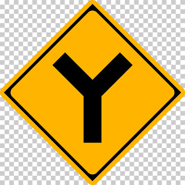 Y形道路交差点ありの 警戒標識│Y字路 マーク 日本の道路標識 切り抜き画像 イラスト フリー データ ダウンロード無料 商用可能 フリー素材 ダウンロード Free download 2D illustration JPEG png traffic sign│digital-architex.com