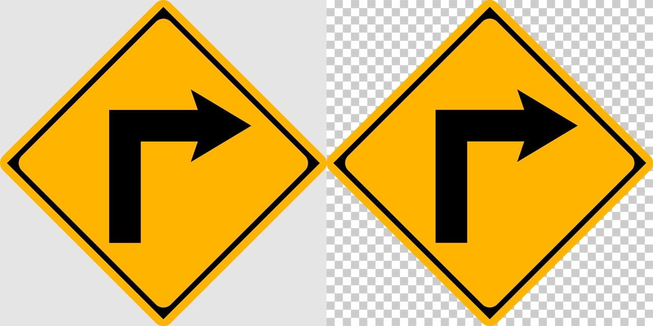 右方屈折ありの 警戒標識│ マーク 日本の道路標識 切り抜き画像 イラスト フリー データ ダウンロード無料 商用可能 フリー素材 ダウンロード Free download 2D illustration JPEG png traffic sign│digital-architex.com