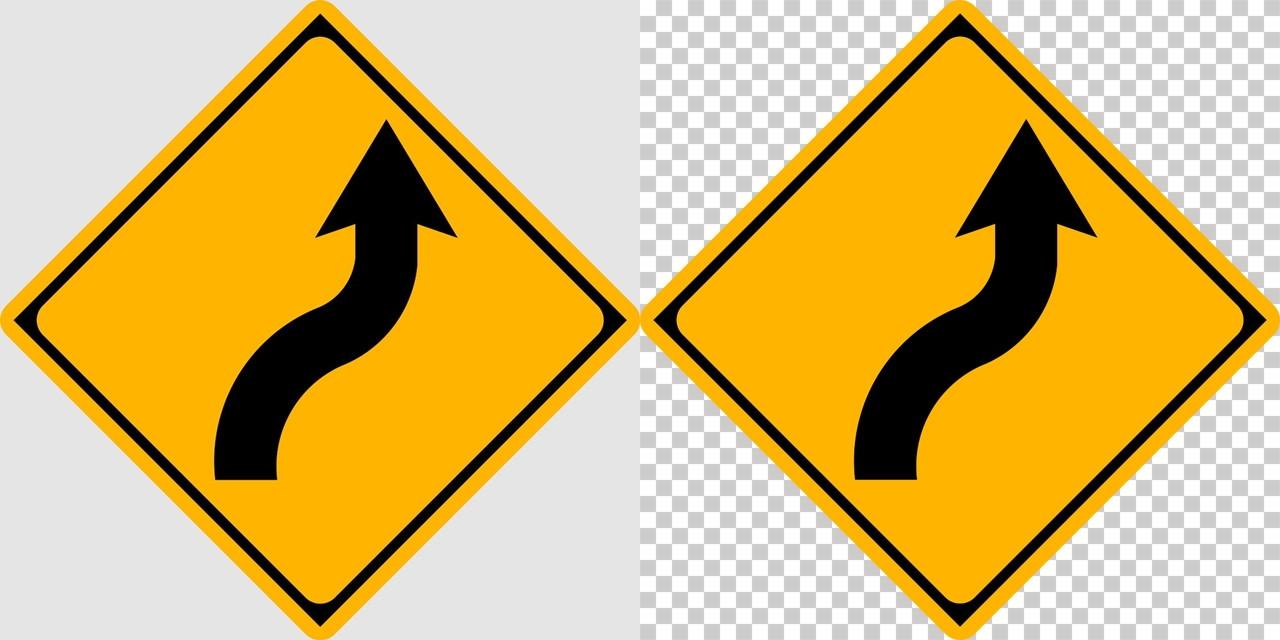 右背向屈曲ありの 警戒標識│ マーク 日本の道路標識 切り抜き画像 イラスト フリー データ ダウンロード無料 商用可能 フリー素材 ダウンロード Free download 2D illustration JPEG png traffic sign│digital-architex.com