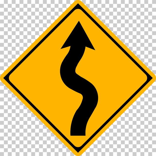 右つづら折りありの 警戒標識│ マーク 日本の道路標識 切り抜き画像 イラスト フリー データ ダウンロード無料 商用可能 フリー素材 ダウンロード Free download 2D illustration JPEG png traffic sign│digital-architex.com