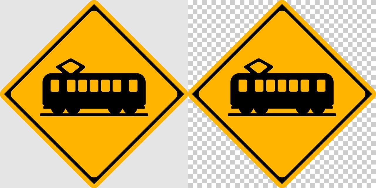 踏切ありの 警戒標識│電車 マーク 日本の道路標識 切り抜き画像 イラスト フリー データ ダウンロード無料 商用可能 フリー素材 ダウンロード Free download 2D illustration JPEG png traffic sign│digital-architex.com