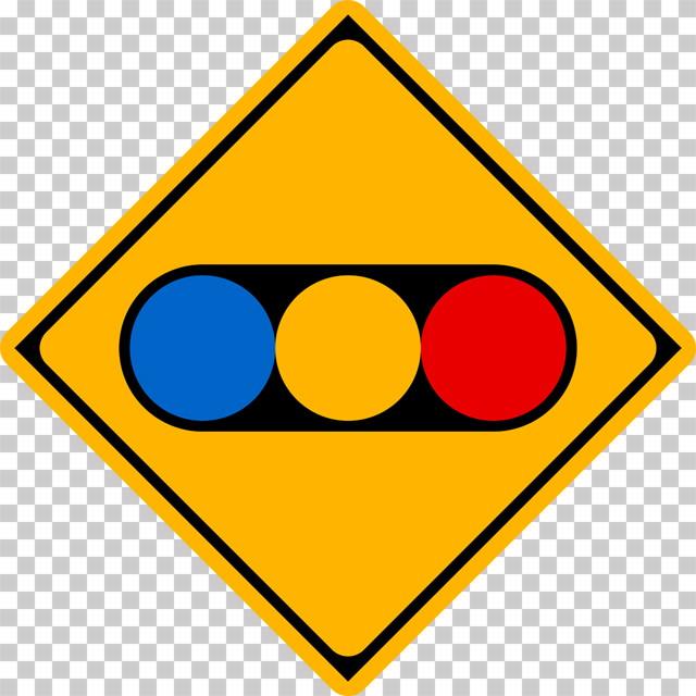 信号機ありの 警戒標識│青色 黄色 赤色 マーク 日本の道路標識 切り抜き画像 イラスト フリー データ ダウンロード無料 商用可能 フリー素材 ダウンロード Free download 2D illustration JPEG png traffic sign│digital-architex.com