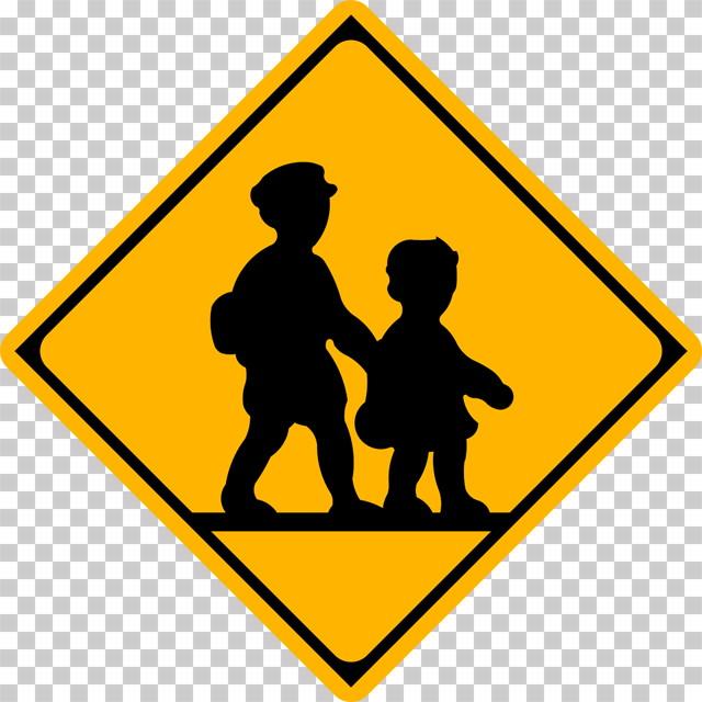 学校、幼稚園、保育所等ありの 警戒標識│歩く子供 兄弟 マーク 日本の道路標識 切り抜き画像 イラスト フリー データ ダウンロード無料 商用可能 フリー素材 ダウンロード Free download 2D illustration JPEG png traffic sign│digital-architex.com