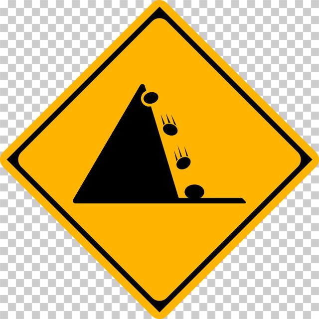 落石のおそれありの 警戒標識│落ちてくるイシ マーク 日本の道路標識 切り抜き画像 イラスト フリー データ ダウンロード無料 商用可能 フリー素材 ダウンロード Free download 2D illustration JPEG png traffic sign│digital-architex.com