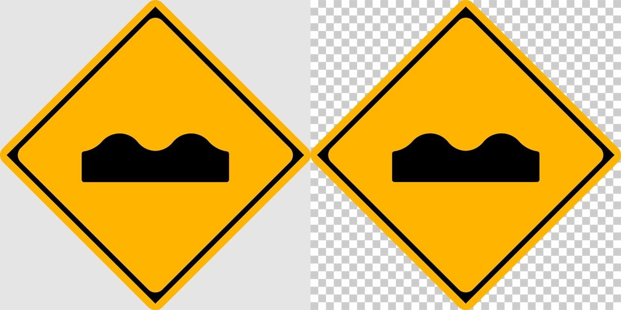 路面に凹凸ありの 警戒標識│波型道路 マーク 日本の道路標識 切り抜き画像 イラスト フリー データ ダウンロード無料 商用可能 フリー素材 ダウンロード Free download 2D illustration JPEG png traffic sign│digital-architex.com