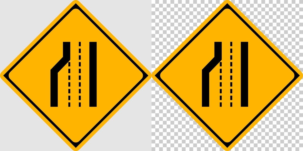 車線数減少の 警戒標識│ マーク 日本の道路標識 切り抜き画像 イラスト フリー データ ダウンロード無料 商用可能 フリー素材 ダウンロード Free download 2D illustration JPEG png traffic sign│digital-architex.com