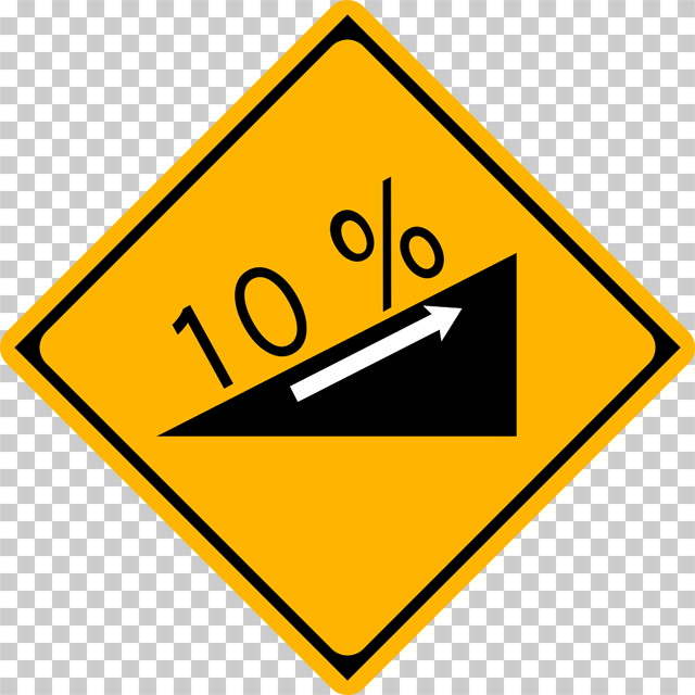 上り急勾配ありの 警戒標識│上る坂道 傾斜 10% マーク 日本の道路標識 切り抜き画像 イラスト フリー データ ダウンロード無料 商用可能 フリー素材 ダウンロード Free download 2D illustration JPEG png traffic sign│digital-architex.com