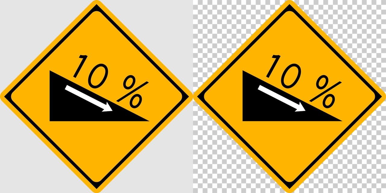 下り急勾配ありの 警戒標識│下る坂道 傾斜 10%  マーク 日本の道路標識 切り抜き画像 イラスト フリー データ ダウンロード無料 商用可能 フリー素材 ダウンロード Free download 2D illustration JPEG png traffic sign│digital-architex.com