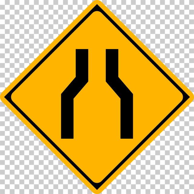 幅員減少の 警戒標識│狭くなる道 マーク 日本の道路標識 切り抜き画像 イラスト フリー データ ダウンロード無料 商用可能 フリー素材 ダウンロード Free download 2D illustration JPEG png traffic sign│digital-architex.com