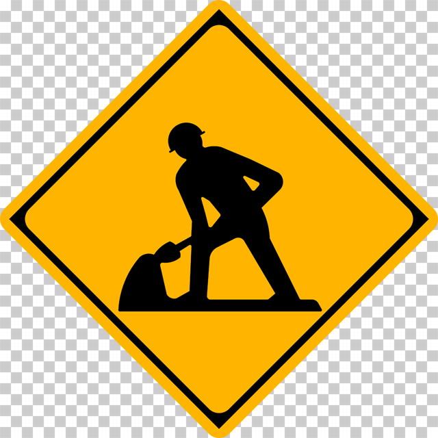 道路工事中の 警戒標識│スコップ 穴を掘る人 マーク 日本の道路標識 切り抜き画像 イラスト フリー データ ダウンロード無料 商用可能 フリー素材 ダウンロード Free download 2D illustration JPEG png traffic sign│digital-architex.com