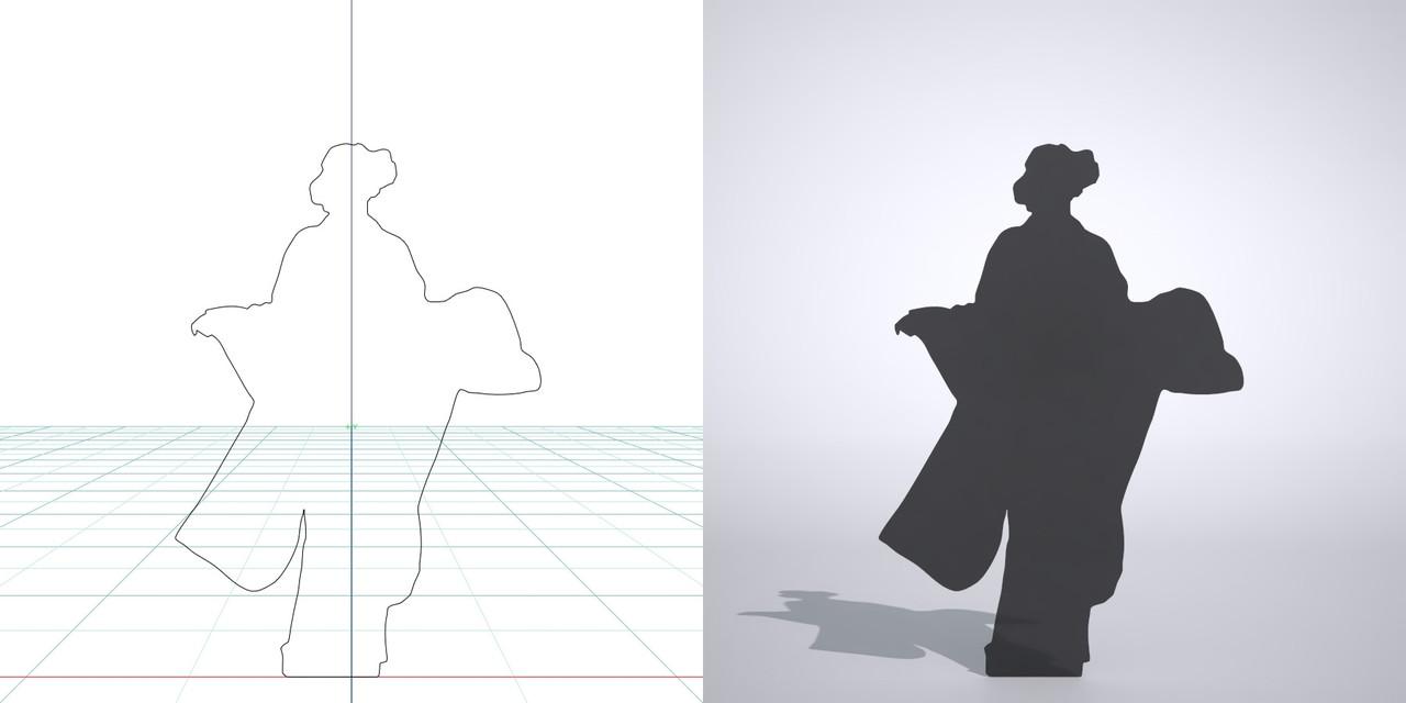 着物を着た女性の3DCAD素材丨シルエット 人物 人間 女性 振り袖 Silhouette people human woman Free download│digital-architex.com