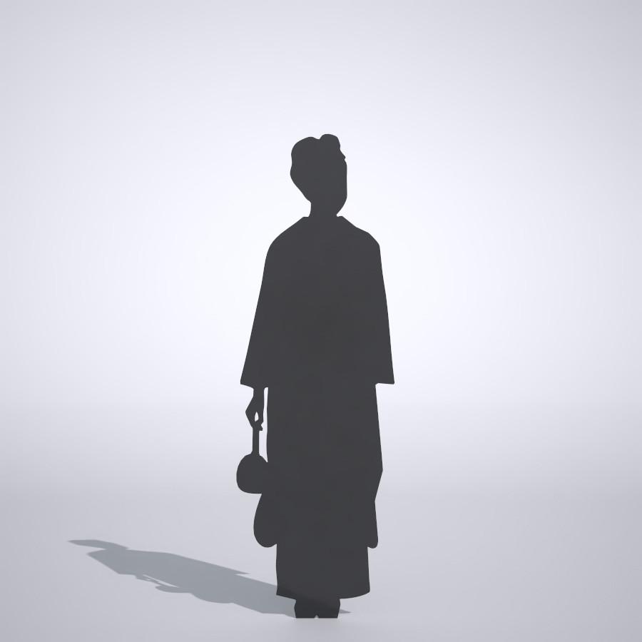 鞄を持っている着物姿の女性の3DCAD素材丨シルエット 人物 人間 女性 振り袖 Silhouette people human woman Free download│digital-architex.com