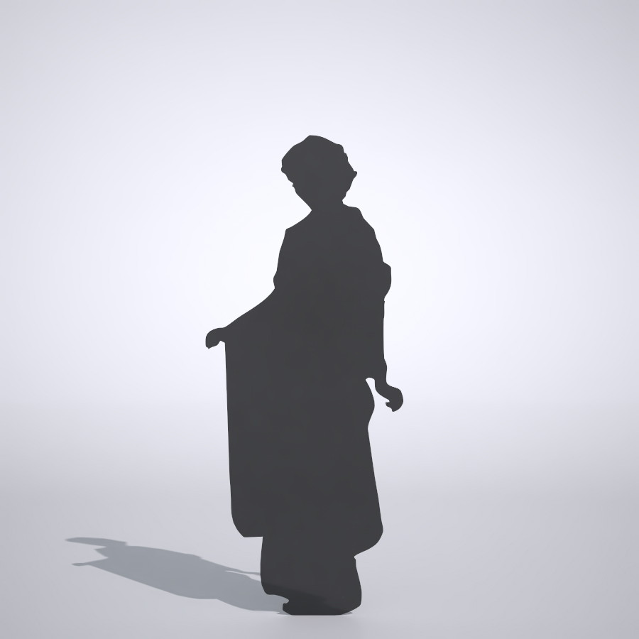 振り袖を着た女性丨シルエット 人物 人間 女性 着物 Silhouette woman│3d cad データ フリー ダウンロード 無料 商用可能 建築パース フリー素材 formZ 3D 3ds obj Free download digital-architex.com