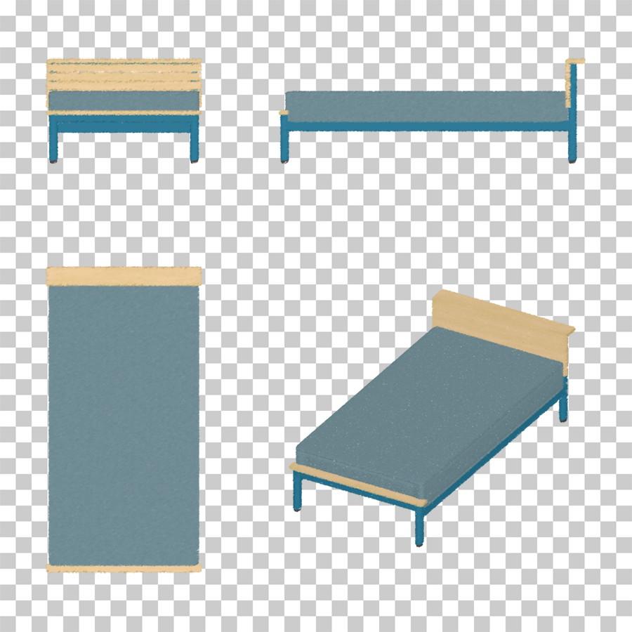 青いシングルサイズのベッドの油彩調イラストデータ │CG 三方図 インテリア 家具 ベッド│フリー ダウンロード無料 商用可能│digital-architex.com デジタルアーキテクス