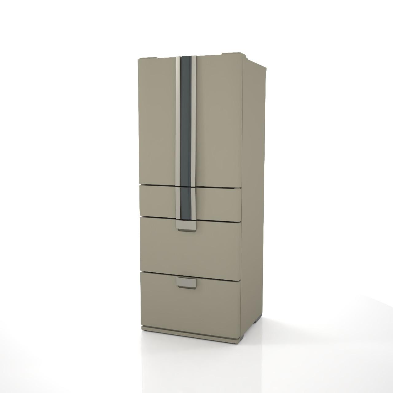 高さ1.8mサイズの小型の冷蔵庫(アーバングレイ色)の3dCADデータ│インテリア 家電製品 冷蔵庫 refrigerator│3d cad データ フリー ダウンロード 無料 商用可能 建築パース フリー素材 formZ 3D 3ds obj Free download│digital-architex.com
