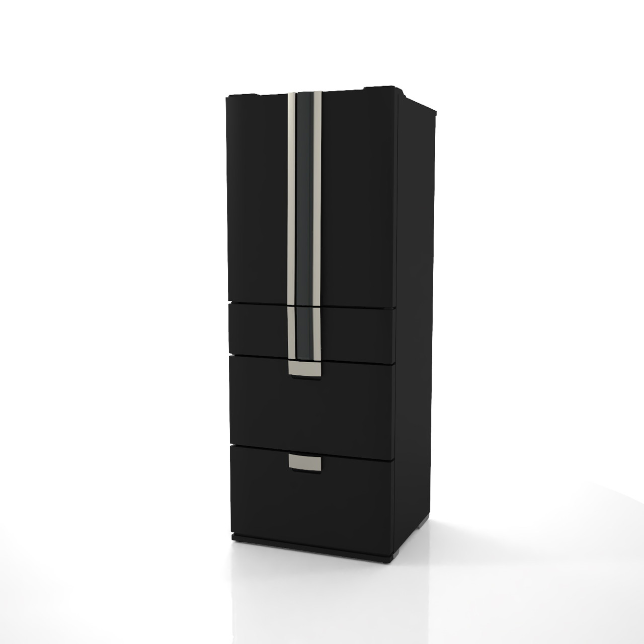 高さ1.8mサイズの小型の冷蔵庫(黒色)の3dCADデータ│インテリア 家電製品 冷蔵庫 refrigerator│3d cad データ フリー ダウンロード 無料 商用可能 建築パース フリー素材 formZ 3D 3ds obj Free download│digital-architex.com