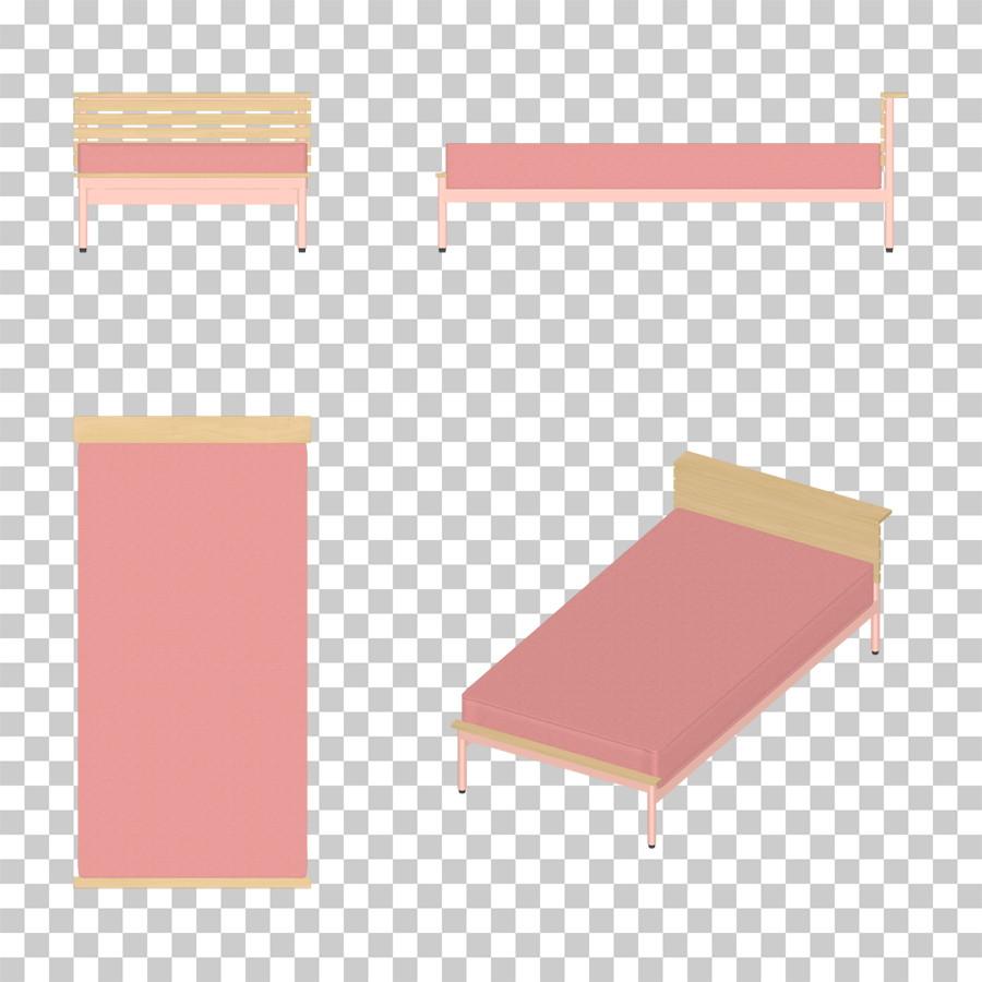 ピンク色のシングルサイズのベッド のイラストデータ │CG 三方図 インテリア 家具 ベッド│フリー ダウンロード無料 商用可能│digital-architex.com デジタルアーキテクス