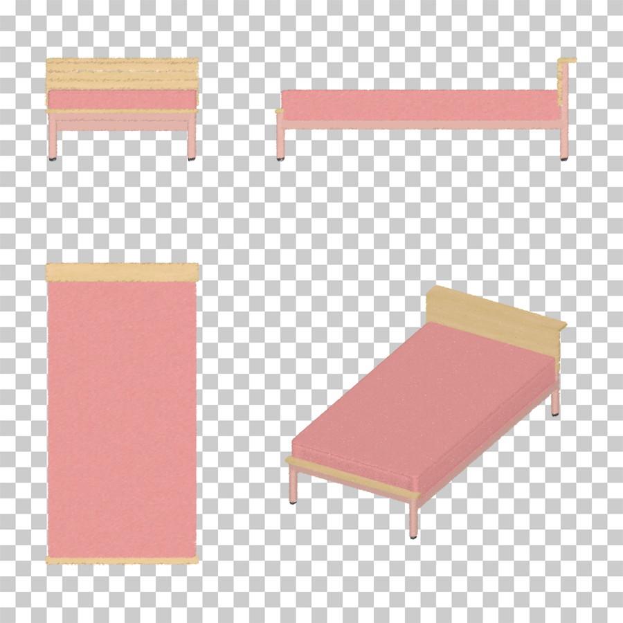 ピンク色シングルサイズのベッドの油彩調イラストデータ │CG 三方図 インテリア 家具 ベッド│フリー ダウンロード無料 商用可能│digital-architex.com デジタルアーキテクス