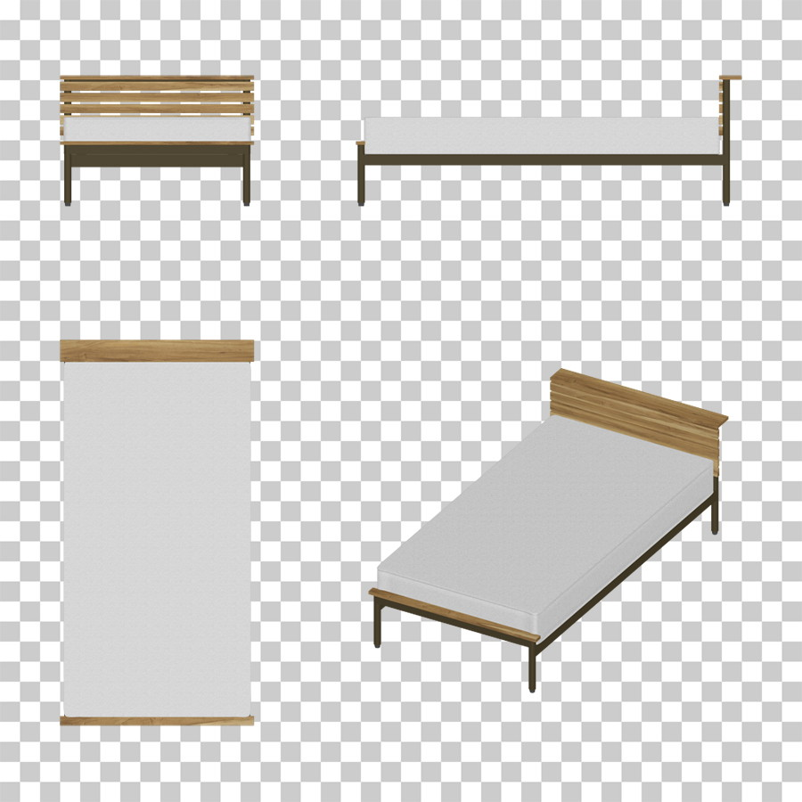 マットが白い シングルサイズのベッド のイラストデータ │CG 三方図 インテリア 家具 ベッド│フリー ダウンロード無料 商用可能│digital-architex.com デジタルアーキテクス