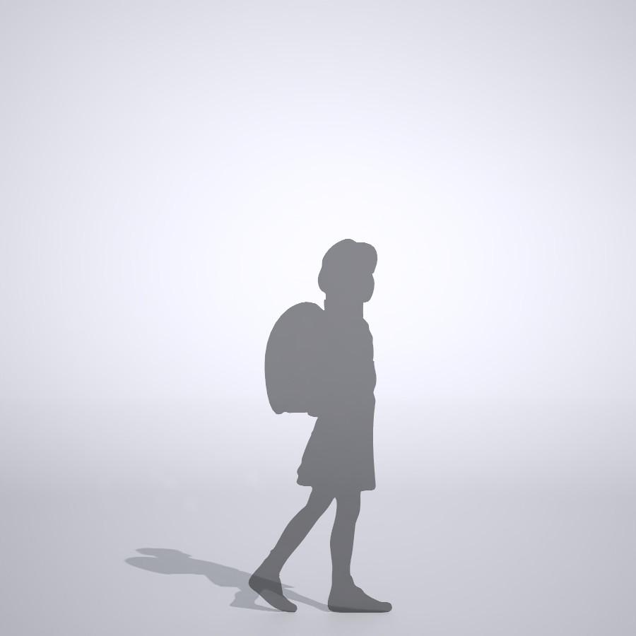 ランドセルを背負って歩く女の子の3dCADデータ│ポリ板 シルエット 人物 人間 子供 Silhouette people human children│3d cad データ フリー ダウンロード 無料 商用可能 建築パース フリー素材 formZ 3D 3ds obj Free download│digital-architex.com