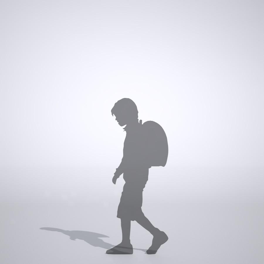 ランドセルを背負った下校中の男の子の3dCADデータ│ポリ板 シルエット 人物 人間 子供 Silhouette people human children│3d cad データ フリー ダウンロード 無料 商用可能 建築パース フリー素材 formZ 3D 3ds obj Free download│digital-architex.com