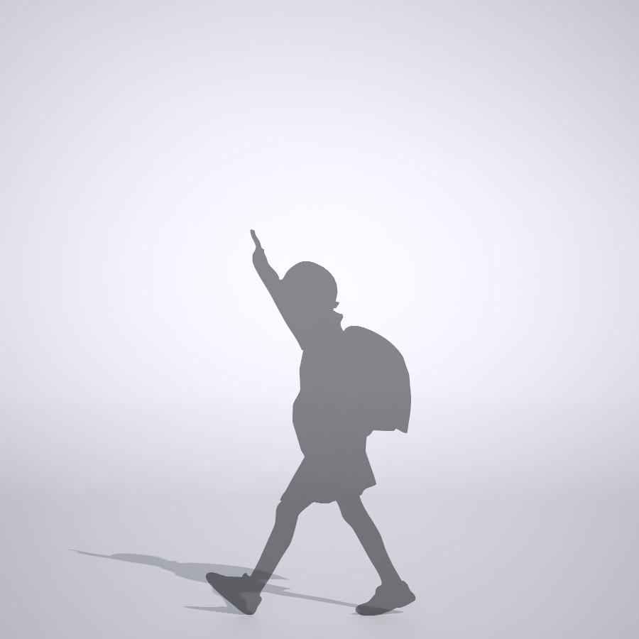 手を上げて横断歩道を渡る女の子の3dCADデータ│ポリ板 シルエット 人物 人間 子供 Silhouette people human children│3d cad データ フリー ダウンロード 無料 商用可能 建築パース フリー素材 formZ 3D 3ds obj Free download│digital-architex.com