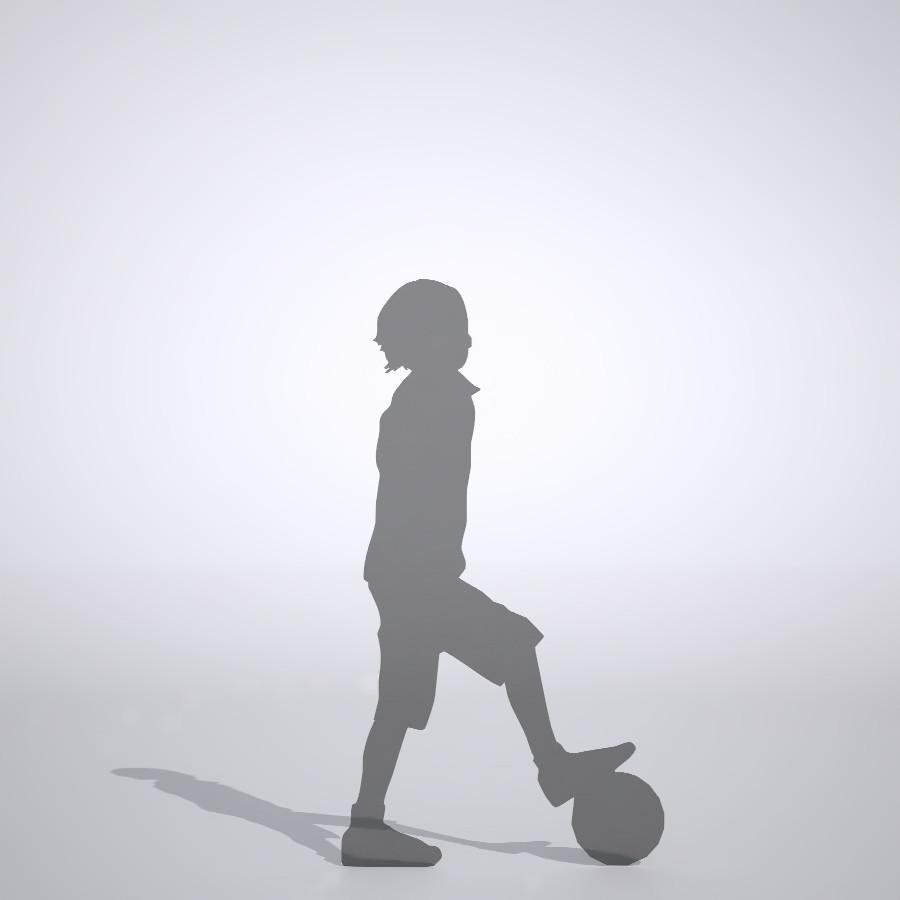 ボールの上に足を置いている男の子の3dCADデータ│ポリ板 シルエット 人物 人間 子供 Silhouette people human children│3d cad データ フリー ダウンロード 無料 商用可能 建築パース フリー素材 formZ 3D 3ds obj Free download│digital-architex.com