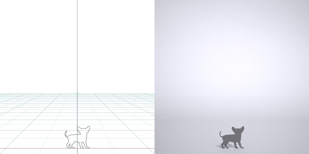 チワワの3dCADデータ│ポリ板 シルエット 動物 犬 animal dog inu│3d cad データ フリー ダウンロード 無料 商用可能 建築パース フリー素材 formZ 3D 3ds obj Free download│digital-architex.com