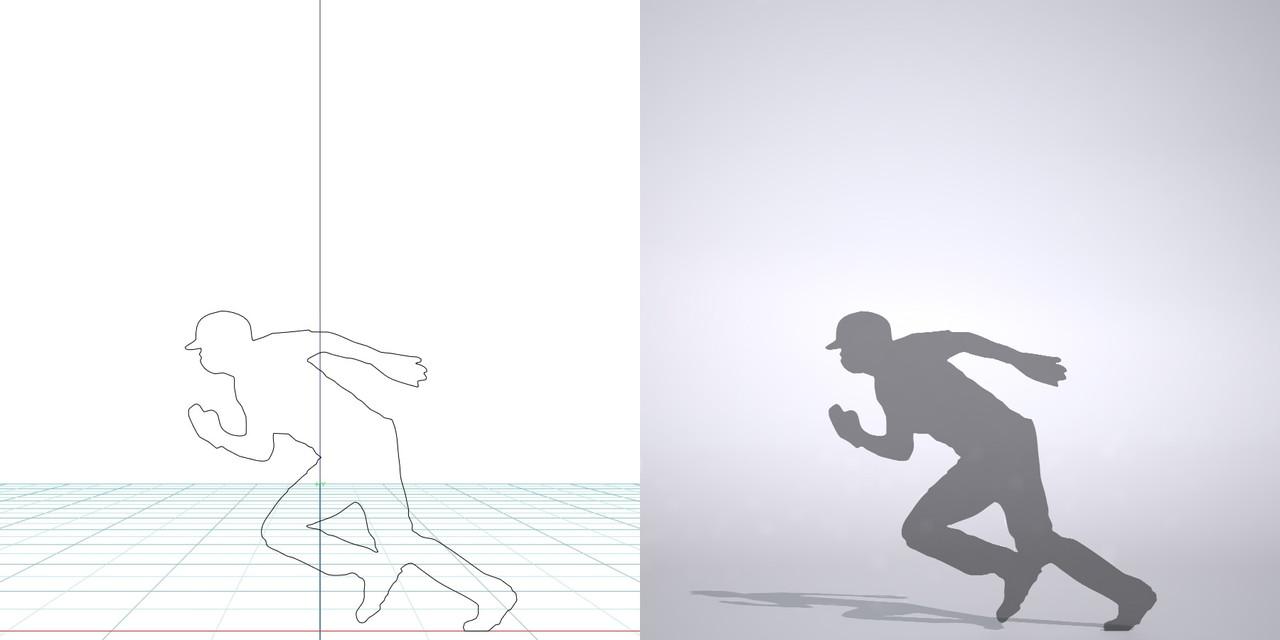 盗塁する野球選手の3DCAD素材丨シルエット 人物 人間 男性 スポーツ 球技 野球 やきゅう ベースボール mlb メジャーリーグ 大谷翔平 プロ野球選手 二刀流│3d cad データ フリー ダウンロード 無料 商用可能 建築パース フリー素材 formZ 3D 3ds obj Free download│digital-architex.com