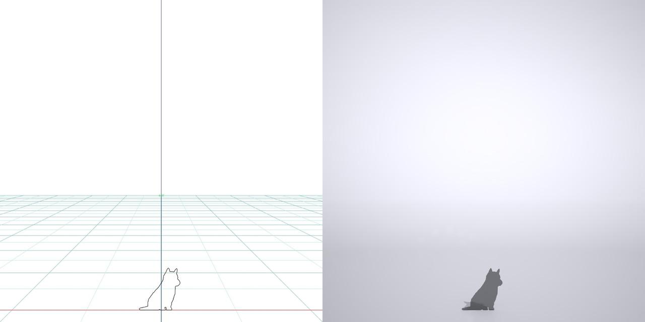 お座りする子犬の3dCADデータ│ポリ板 シルエット 動物 犬 animal dog Shiba inu│3d cad データ フリー ダウンロード 無料 商用可能 建築パース フリー素材 formZ 3D 3ds obj Free download│digital-architex.com