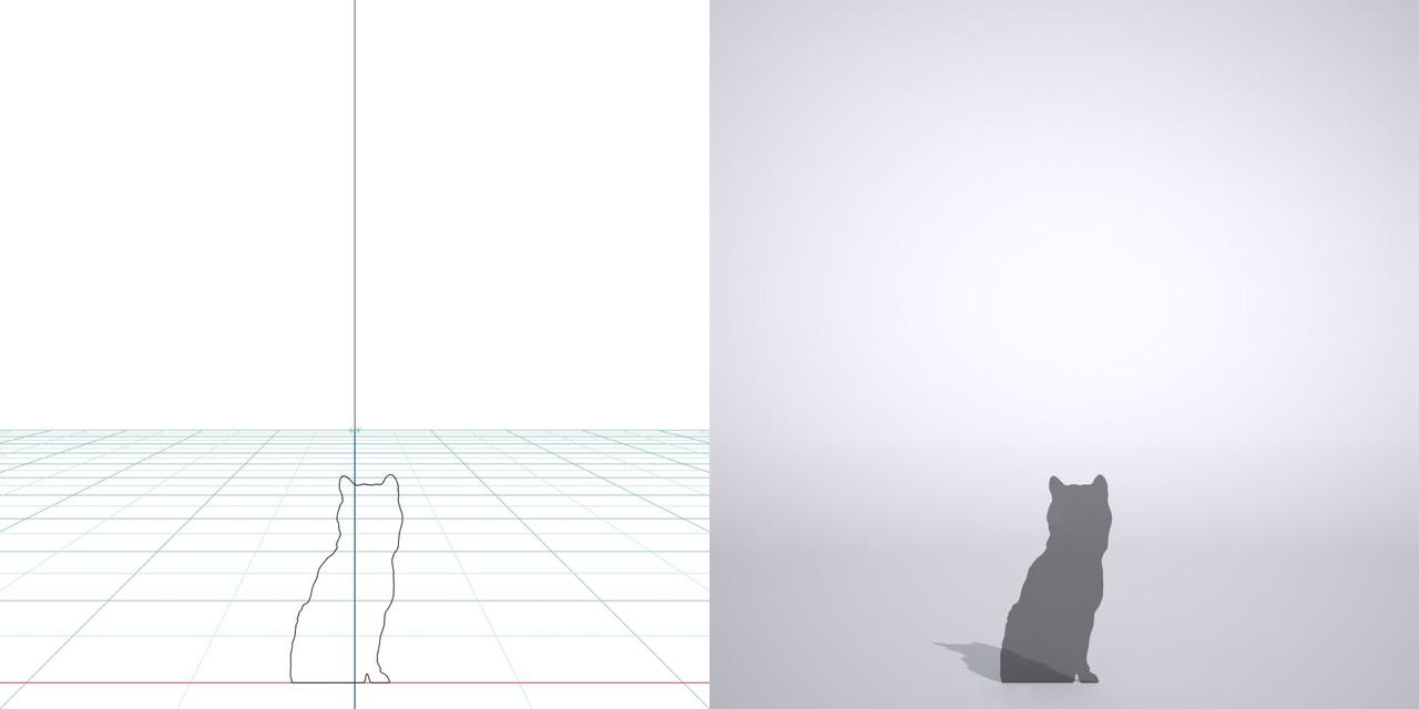 お座りする柴犬の3dCADデータ│ポリ板 シルエット 動物 犬 animal dog Shiba inu│3d cad データ フリー ダウンロード 無料 商用可能 建築パース フリー素材 formZ 3D 3ds obj Free download│digital-architex.com
