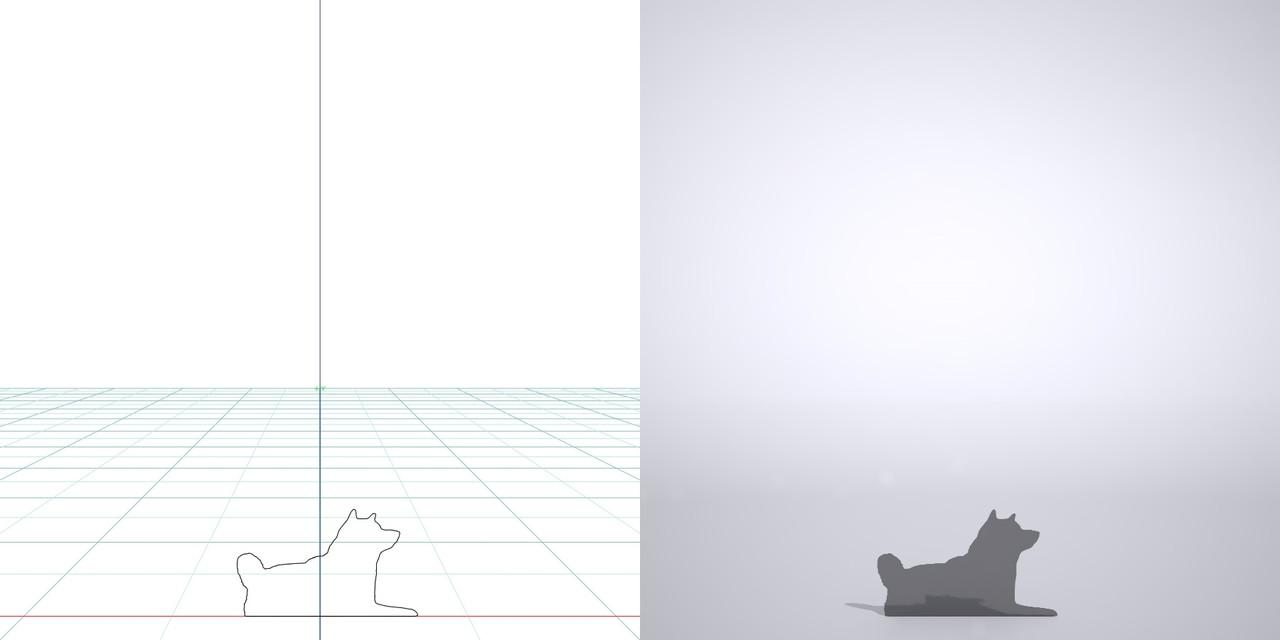 伏せている柴犬の3dCADデータ│ポリ板 シルエット 動物 犬 animal dog Shiba inu│3d cad データ フリー ダウンロード 無料 商用可能 建築パース フリー素材 formZ 3D 3ds obj Free download│digital-architex.com