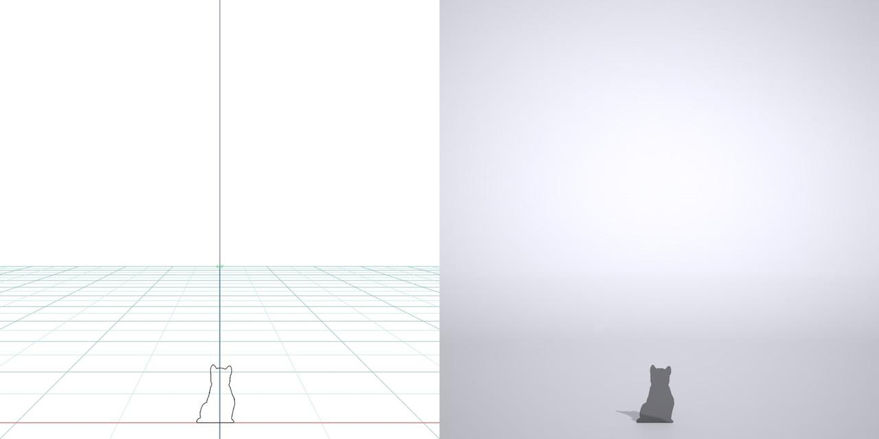 柴犬・子犬の3dCADデータ│ポリ板 シルエット 動物 犬 animal dog Shiba inu│3d cad データ フリー ダウンロード 無料 商用可能 建築パース フリー素材 formZ 3D 3ds obj Free download│digital-architex.com