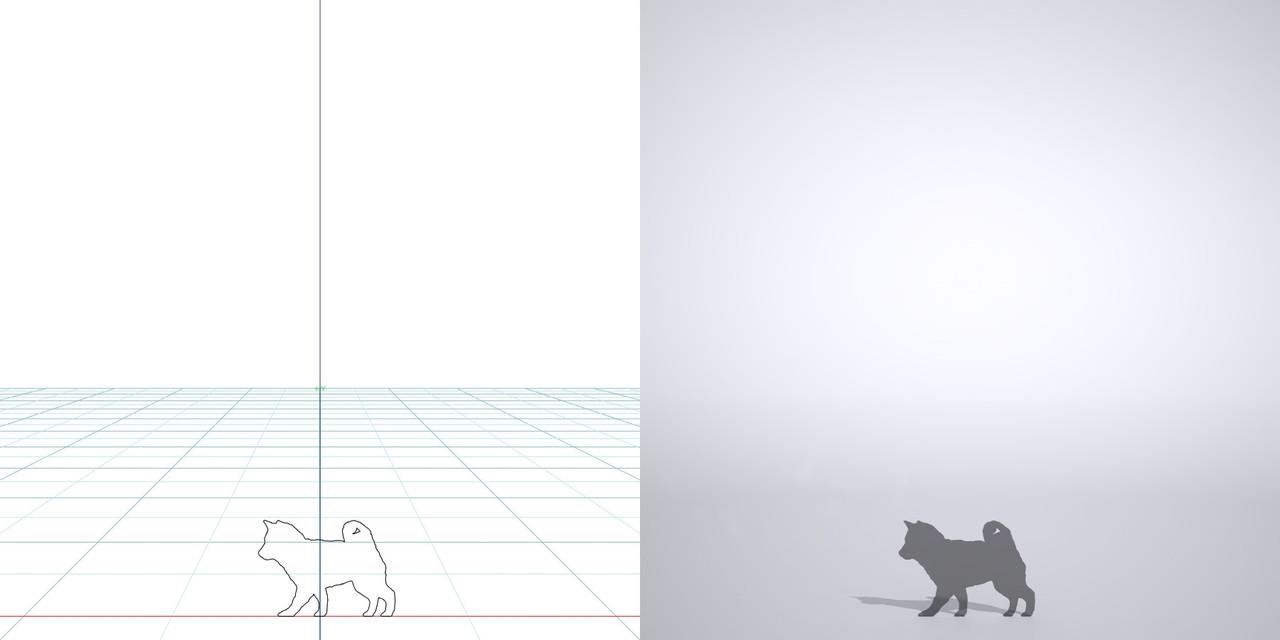 柴犬・歩く子犬・仔犬・の3dCADデータ│ポリ板 シルエット 動物 犬 豆柴 小型犬 animal dog Shiba inu│3d cad データ フリー ダウンロード 無料 商用可能 建築パース フリー素材 formZ 3D 3ds obj Free download│digital-architex.com