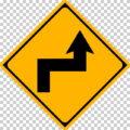 右背向屈折ありの 警戒標識│ マーク 日本の道路標識 切り抜き画像 イラスト フリー データ ダウンロード無料 商用可能 フリー素材 ダウンロード Free download 2D illustration JPEG png traffic sign│digital-architex.com