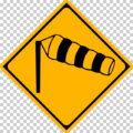 横風注意の 警戒標識│強風 なびく マーク 日本の道路標識 切り抜き画像 イラスト フリー データ ダウンロード無料 商用可能 フリー素材 ダウンロード Free download 2D illustration JPEG png traffic sign│digital-architex.com